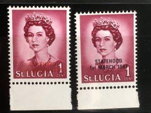 St. Lucia Sc# 214 MH Unissued Statehood Overprints Mi204a-b