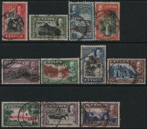 CEYLON-1935-36 Set to 1r Sg 368-378 GOOD USED V40428