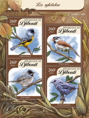 DJIBOUTI 2016 SHEET SONGBIRDS BIRDS