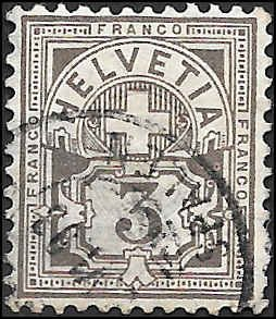 1882 SWITZERLAND  SC# 70 USED XF SUPERB SOUND CV $15.00