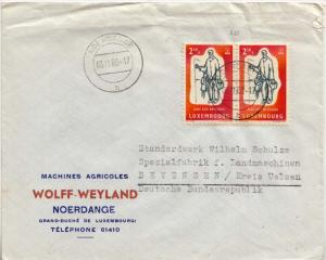Luxembourg 2.50F World Refugee Year (2) 1960 Noerdange b to Bevensen, Germany...