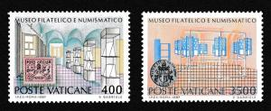 Vatican Inauguration of Philatelic and Numismatic museum 2v SG#884-885