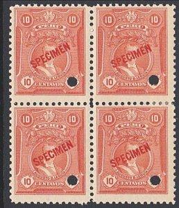 PERU 10c Leguia SPECIMEN opt in red + security punch hole blk of 4..........7918