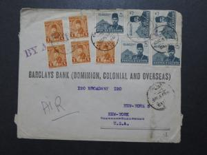 Egypt 1945 Airmail Cover to USA / Small Top Tear Through 1 Stamp - Z10052