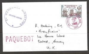 1983 Paquebot Cover, France stamp used in Baltimore, Maryland