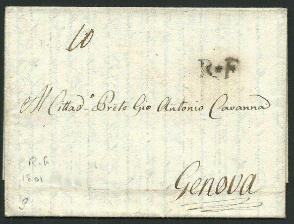 FRANCE OCCUPATION OF ITALY 1801 entire FIRENZE to Genoa - scarce R.F.......66414