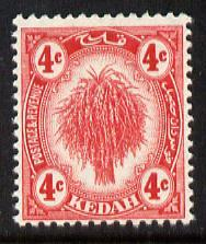 Malaya - Kedah 1919-21 Sheaf of Rice 4c red MCA unmounted...