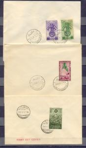 EGYPT - 1945 - 1951 3 FDC Royal stamps Alexandria cancellation