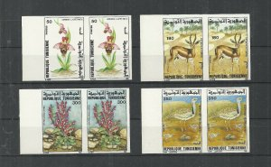 1995- Tunisia- Imperforated pair-Fauna and Flora:Ophrys lapethica,Scupellaria,Ga