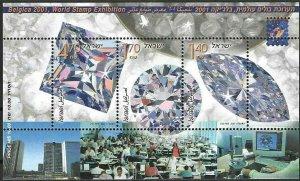 2001 Israel Beautiful Minerals, Diamonds Souvenirsheet VF/MNH! LOOK!