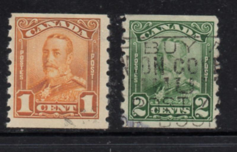Canada Sc 160-1 1929 George V Scroll issue coil stamp set used