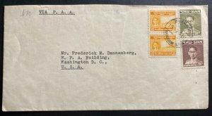 1951 Bangkok Thailand Airmail Cover To Washington DC USA Pan American Airways