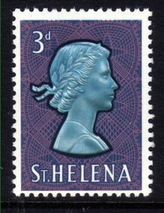 St Helena 1961 - 65 QE2 3d Portrait QE2 Umm Chalk Paper SG 179a ( 1212 )