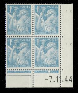 FRANCE - 1944 - N°650 1fr IRIS COIN DATÉ du 7.11.44 (1 point blanc) - TB