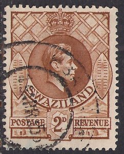 Swaziland 1938 - 54 KGV1 2d Yellow Brown used SG 31a ( A798 )