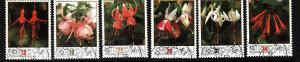 Isle of Man-Sc#371-6-used set-Fuchsia-Flowers-1988-