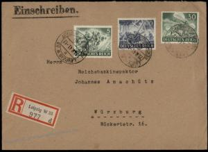 Germany 1943 Helden der Wehrmacht I Heroes Series Cover Leipzig Registered 71626