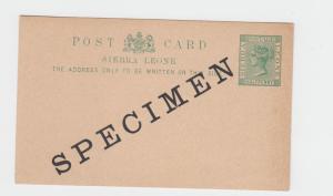 SIERRA LEONE QV  ½d SPECIMEN  CARD VF UNUSED H&G#5 (SEE BELOW)