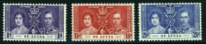 ST LUCIA King George VI 1937 The Coronation Set SG 125 to SG 127 MINT
