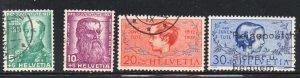 Switzerland Sc B85-88 1937 Pro Juventute Anniversary stamp set used