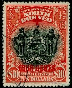 NORTH BORNEO SG252, $10 +4c brick-red, FINE USED. Cat £475.