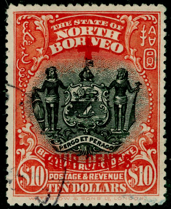 NORTH BORNEO SG252, $10 +4c brick-red, FINE USED. Cat £475.