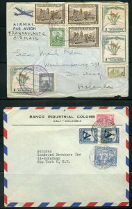 COLOMBIA LOT OF 7 COMMERCIAL MOSTLY AIR MAILS COVERS 1930'S - 1950'S  AS SHOWN