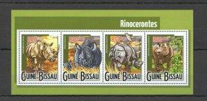 ST971 2015 GUINEA-BISSAU ANIMALS FAUNA RHINO 1KB MNH STAMPS