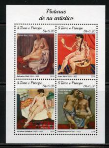 SAO TOME  2018 PAINTINGS OF NUDES  SHEET I  MINT NH