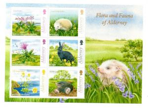 ALDERNEY - 2015 - FAUNA AND FLORA - S/S -