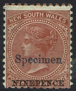 NEW SOUTH WALES 1882 QV NINEPENCE ON 10D SPECIMEN