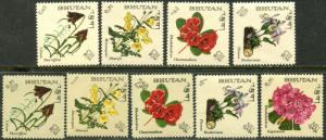 BHUTAN Sc#85-85H 1967 Flowers Complete Set OG Mint NH