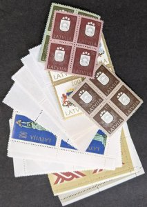 EDW1949SELL : LATVIA 1991-93 All Different VF, MNH Better Blocks of 4. Cat $163.