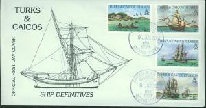 Turks & Caicos SC# 878-9 FDC Sailing the Seas