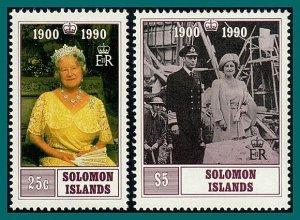 Solomon Islands 1990 Queen Mother 90th Birthday, MNH #671-672,SG675-SG676