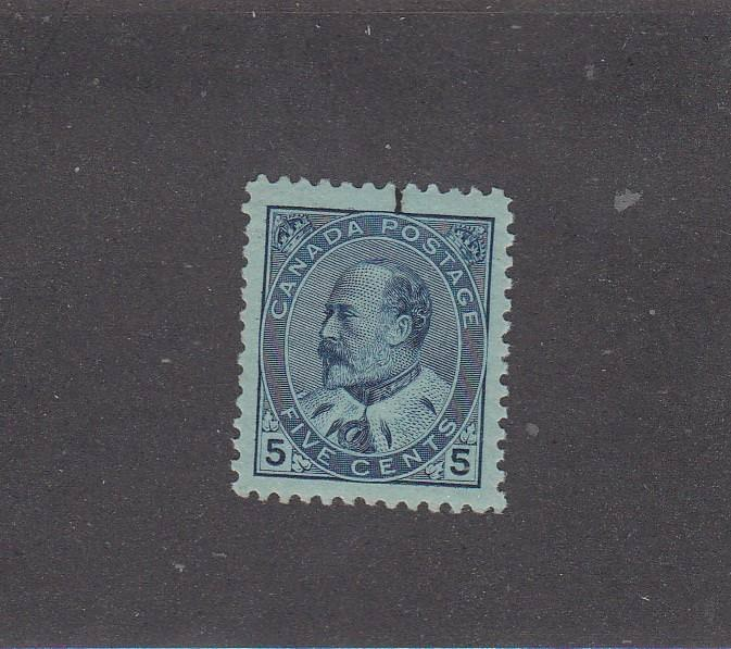 CANADA # 91 VF-MNH KEV11 5cts BLUE CAT VALUE $1200 Has Tiny ink Stain Top