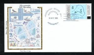 Micronesia Postal Inaug. 22c Overprint Colorano Silk Cachet