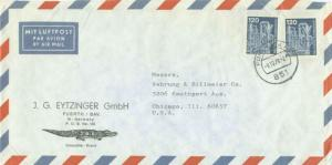 Germany 120pf Chemical Plant (2) 1978 Furth Bay. 2, 851 Airmail to Chicago, I...