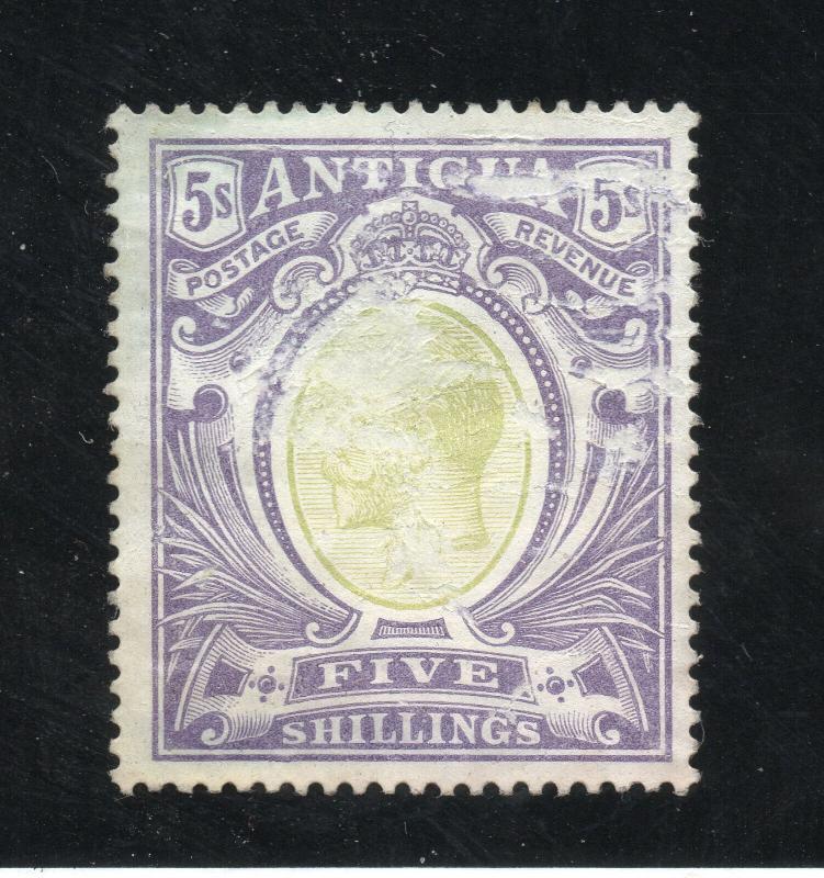 Antigua - SG# 51 MLH (scuff on face) / 5 Shilling -  Lot 0119170