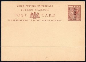TOBAGO Queen Victoria PENNY HALFPENNY Postal Stationery SURCHARGED ONE PENNY