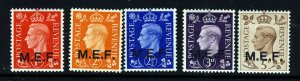 MIDDLE EAST FORCES KG VI 1942 Overprinted M.E.F. Set SG M1 to SG M5 MINT