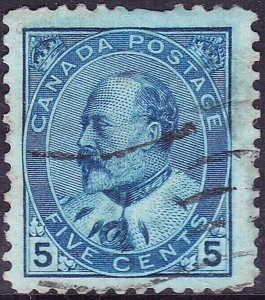 CANADA 1903KEDVII5cents Indigo/BlueSG179Used