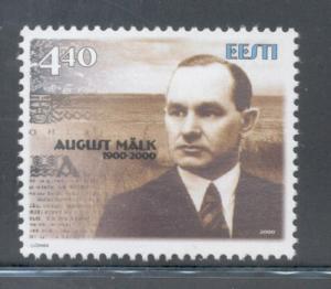 Estonia Sc 402 2000  Auguist Malk stamp mint NH