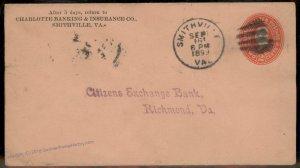 Virginia 1899 Smithville VA DPO Cancel Helbock R5 Cover 92438