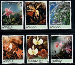 Angola Used Flowers / Orchids complete set CTO