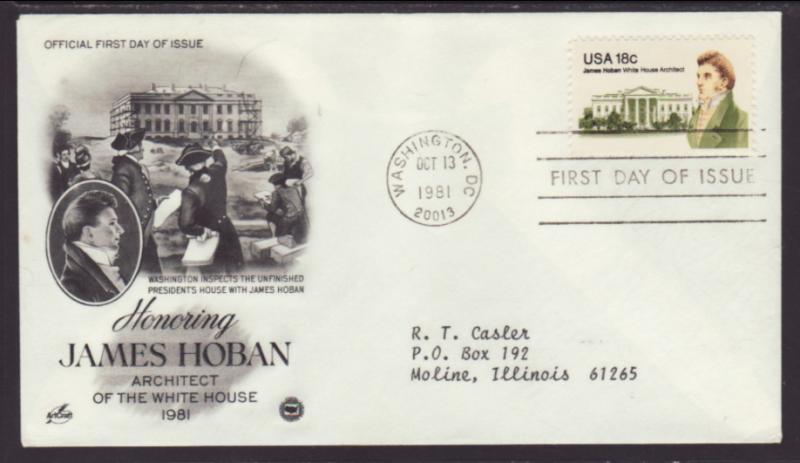 US James Hoban 1981 PCS Typed FDC BIN