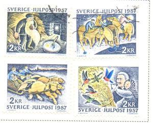 Sweden Sc  1657-60 1987 Christmas stamp set used