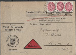 Germany - 28.9.1932 15pf official stamp as MeF on COD cover (5248)