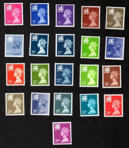 WALES & MONMOUTHSHIRE BRITAIN 21 DIFF MNH QEII MACHIN STAMPS SCOTT # WMMH1-57