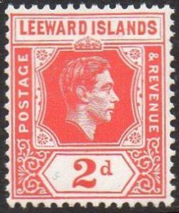 Leeward Islands 1949 2d scarlet MH